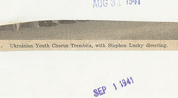 1941, September 1. DB. Detroit, Michigan. Ukrainian Youth Chorus Trembita with Stephen Lucky directing (Back)