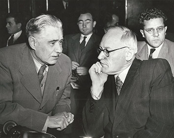 1948, October 7. BA. New York, New York. THREAT OF BOYCOTT CAME NEXT. Andrei Vishinsky, Soviet politician, prosecutor and jurist with Dmitri Manuilsky, Foreign Minister of Soviet Ukraine, voted negative on the Berlin situation at the UN Security Council. New York Bureau. Acme Photo (Front)
