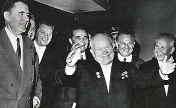 1960, September 21. FA. New York City, New York. HAPPY: Soviet Premier Khrushchev at the UN building with Nikolai Podgorny, right, head of the Ukrainian delegation to the UN. During this UN General Assembly, the Shoe-banging incident happened three weeks later. AP Wirephoto (Front)