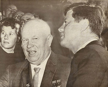 1961, June 4. CA. Vienna, Austria. KHRUSHCHEV WITH KENNEDY. Soviet Premier Nikita S. Khrushchev with the US President John F. Kennedy at the summit conference, where the two leaders discussed the problems of nuclear disarmament, Berlin, and Laos. AP Wirephoto (Front)