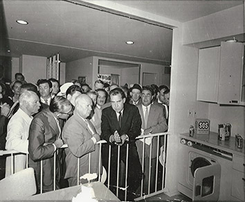 1959, July 24. BA. Moscow, Soviet Russia. THE GREAT KITCHEN DEBATE. Vice President Richard Nixon played host to Premier Nikita Khrushchev in a tour of an American Exhibition in Moscow. The debate, held at the exhibit of a typical American kitchen, was on the merits of the Soviet and American ways of life. AP Wirephoto (Front)