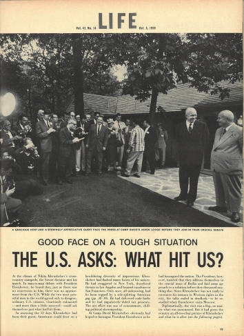 1959, October 5. KB. Soviet leader Nikita Khrushchev, US Tour. LIFE magazine article