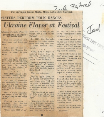 1962, July 1. AB. Detroit, Michigan. Ukraine Flavor at Festival. Ukrainian sisters Marta, Myra, Luba, and Mrs. Sawczuk prepare to perform folk dance in the Freedom Festival International Gala in Cobo Hall. Detroit Free Press (Back)