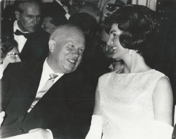 1961, June 4. EA. Vienna, Austria. IN VIENNA: Soviet Premier Khrushchev admires Mrs. John F. Kennedy at the dinner during historic Vienna Summit AP Photo (Front)