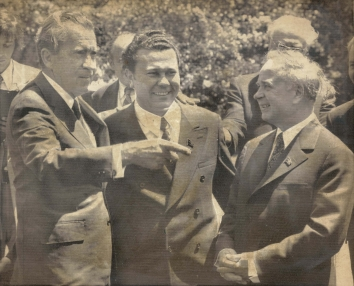 1974, May 28. BA. Washington, District of Columbia. TOUR OF THE GARDEN. U.S. President Nixon and Chairman of the Council of Ministers of the Ukrainian Republic A. P. Lyashko (right) at the White House Rose Garden. Lyashko and seven other Soviet Governors came to the U.S. for the National Governors Conference. AP Wirephoto (Front)