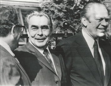 "1975, July 30. AA. Helsinki, Finland. Soviet Leader Leonid Brezhnev chatted with U.S. Secretary of State Henry Kissinger, when he came to the American embassy to meet U.S. President Ford. This was during the 35-nation summit, where British Prime Minister Wilson directly challenged ""Brezhnev doctrine"" and Helsinki Final Act was signed. AP Wirephoto (Front)"