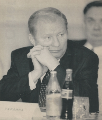 1996, October 25. AA. Moscow, Russia. Ukraine President at the Black Sea Economic Cooperation Conference. Photo by Pool Slug. AP Leafdesk (Front)