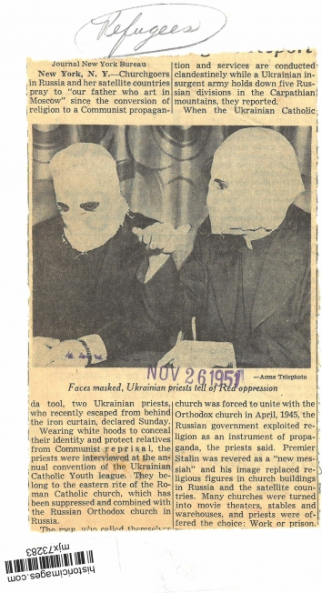 1951, November 26. BB. New York, New York. Faced masked, Ukrainian priests tell of Red oppression. Acme Telephoto (Back)