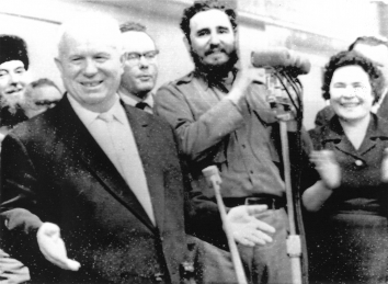 1964, January 17. AA. Kalinin, Soviet Russia. Cuban Premier Fidel Castro applauds as Soviet Premier Nikita Khrushchev speaks to mill workers at a mass meeting in Kalinin (now Tver) 1/17. UPI Radiophoto from TASS (Front)