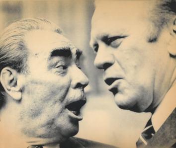 1982, November 11. CA. Helsinki, Finland. BREZHNEV AND FORD -  Brezhnev died Wednesday, the news agency Tass reported Thursday. AP Laserphoto (Front)