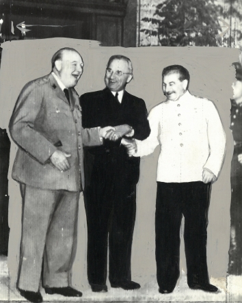 1945, July 23. DA. Potsdam, Germany. ALLIED UNITY! - Prime Minister Churchill, President Truman, and Premier Stalin. ACME Telephoto by Signal Corps Radiotelephoto (Front)