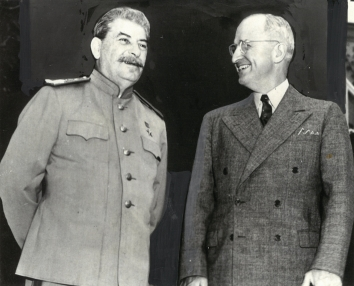 1945, July 17. CA. Potsdam, Germany. Stalin and Truman were all smiles at Potsdam conference. (Front)