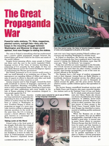 1982, January 11. AB. The Great Propaganda War Between the United States and the Soviet Union. U.S. News and World Report magazine article