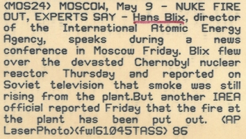 1986, May 9. CB. Moscow, Soviet Russia. NUKE FIRE OUT, EXPERTS SAY - Hans Blix, director of the International Atomic Energy Agency, speaks during a news conference in Moscow Friday. Blix flew over the devasted Chernobyl nuclear reactor Thursday and reported on Soviet television that smoke was still rising from the plant. But another IAEA official reported Friday that the fire at the plant has been put out. AP LasePhoto (Back)