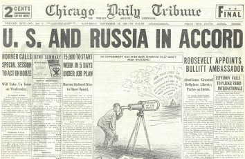1933, November 18. BA. Chicago Daily Tribune. U. S. AND RUSSIA IN ACCORD. U.S. Recognises Soviet Russia and appoints the Ambassador. Chicago Daily Tribune front page