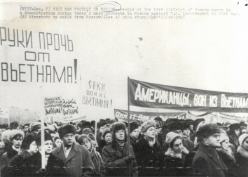 1965, December 8. AA. Moscow, Soviet Russia. VIET NAM PROTEST IN MOSCOW - People of the Kyiv district of Moscow march in a demonstration during today's mass protests in Moscow against U.S. involvement in Viet Nam. AP Wirephoto (Front)