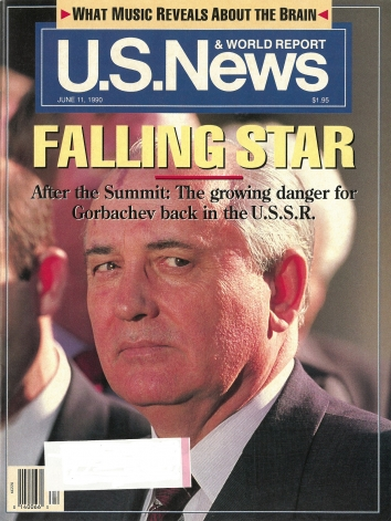 1990, June 11. AA. US News & World Report Magazine. FALLING STAR - Front cover on Bush-Gorbachev Summit and growing danger for Gorbachev in the U.S.S.R.