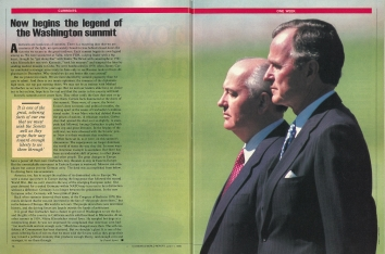 1990, June 11. AB. US News & World Report Magazine. Article on Bush-Gorbachev Summit in Washington, District of Columbia