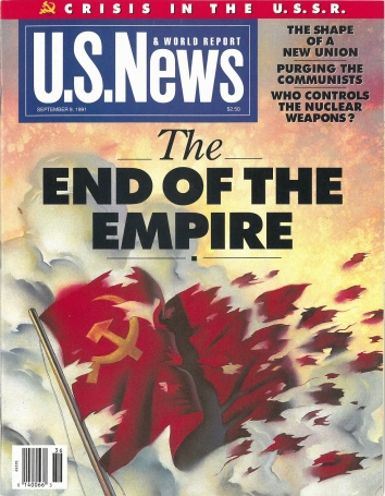 1991, September 9. RA. US News and World Report Magazine. THE END OF EMPIRE. U.S. News and World Report magazine front cover on the dissolution of the U.S.S.R.