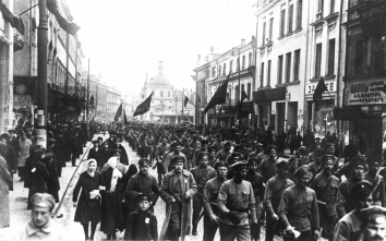 1918, May 1. AA. Moscow, Soviet Russia. The first parade of the Red Army. The parade was initiated and organized by Lev Trotsky and attended by Vladimir Lenin and other Bolshevik's leaders. The event consisted of the rally and parade on the Red Square and military parade and airshow at Khodynka Field. National Archives (Front)