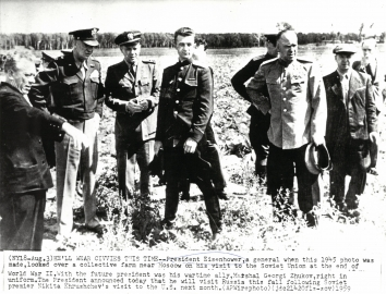 1945, August 13. FA. Moscow Oblast, Soviet Russia. HE'LL WEAR CIVVIES THIS TIME.  President Eisenhower, a general when this 1945 photo was made, looked over a collective farm near Moscow on his visit to the Soviet Union at the end of World War II. AP Wirephoto (Front)
