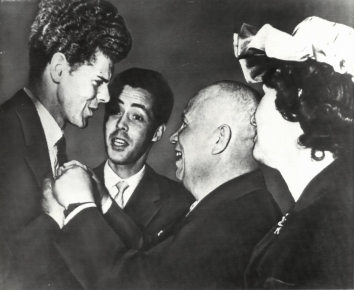 1958, April 15. AA. Moscow, Soviet Russia. KHRUSHCHEV WITH TEXAS PIANIST. Van Cliburn, left, tall Texan when won Soviet Union's International Tchaikovsky piano contest, gets unstinted congratulations of Premier and Communist Party boss Nikita Khrushchev. AP Wirephoto (Front)