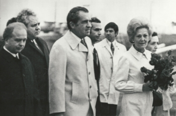 1972, May 29. EA. Kyiv, Soviet Ukraine. ARRIVAL OF PRESIDENT NIXON IN KYIV'S AIRPORT. Left to right: Chairman of Ukrainian Supreme Soviet A. Lyashko, Mr. and Mrs. Nixon. TASS (Front)