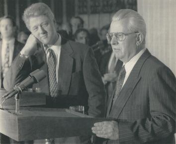 1994, January 13. BA. Kyiv, Ukraine. President Clinton listens as Ukrainian President Leonid Kravchuk, right, answers questions at a joint news conference at Kyiv's airport Wednesday January 12, 1994. AP Photo (Back)