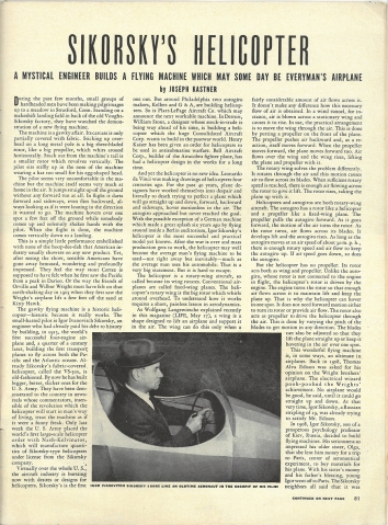 1943, June 23. BB. LIFE Magazine Article. SIKORSKY'S HELICOPTER