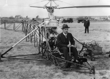 1939, September 14. CA. Stratford, Connecticut. Ihor Sikorsky in the cockpit of the VS-300, preparing for the first helicopter flight in the world's history.